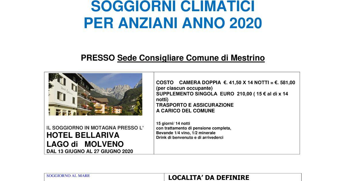 Comune Di Mestrino Riunione Per I Soggiorni Climatici Per Gli Anziani 2020